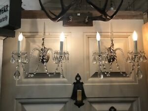 Pair Of Silver Plated Crystal 1930s Hollywood Regency Two Light Wall Sconces