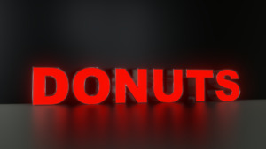 6pc Donuts Led Black Side Panels Storefront Sign Complete And Ready To Install