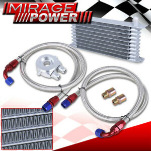 9 Row An10 Racing Engine Transmission Oil Cooler Kit Filter Adapter Silver Kit