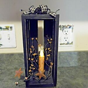 Primitive Black Wood Crate Battery Candle Pip Star Wreath Country Decor