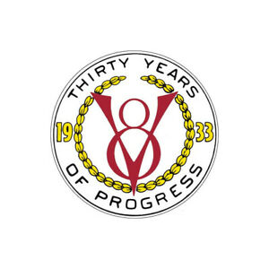 Nostalgia Decal 1933 V8 Thirty Years Of Progress 2 3 4 Tall 32 47060 1