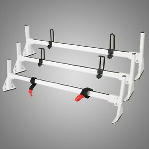 For 96 19 Chevy Express Fullsize Van 3 Bar Ladder Roof Racks Steel White Rack