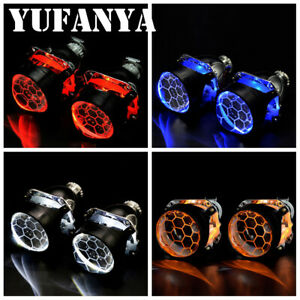 Honeycomb 2 5 Bi Xenon Hid Projector Lens Led Demon Eyes Headlight Retrofit