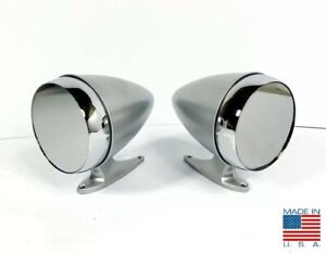 Pair Premium Bullet Style Silver Side Mirrors For 1965 1968 Ford Mustang shelby