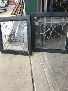 Pa 33 Pair Antique Four Point Beveled Leaded Glass Windows 24 25 X 25 25