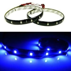 2x 12 Deep Blue 15 Smd Led Ultra Thin Waterproof Interior Floor Strip Lights