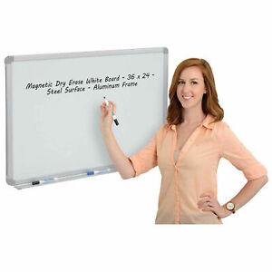 Magnetic Dry Erase White Board Steel Surface Aluminum Frame 36 X 24