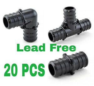 20 1 2 Pex Poly Alloy Crimp Tees Elbows Coupling Fittings Lead free