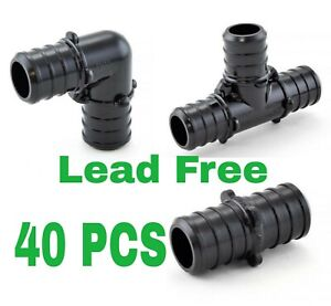 40 1 2 Pex Poly Alloy Crimp Tees Elbows Coupling Fittings Lead free