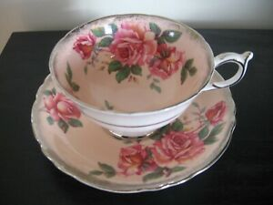 Paragon Peach Silver Pink Rose Tea Cup And Saucer