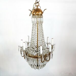 Antique Vintage French Empire Victorian Beaded Basket Crystal Chandelier Classic