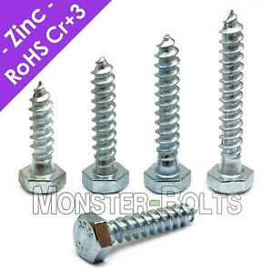 1 4 Hex Lag Screws Lag Bolts Zinc Plated Steel Cr 3 Rohs
