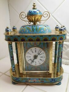 Vintage Chinese Cloisonne Enamel Table Clock By People S Republic Of China