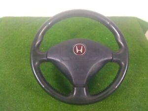 Jdm Civic Ek4 Ek9 Red Stitching Emblem Steering Wheel Honda Ek Black Leather