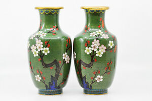 Vintage Chinese Pair Cloisonne Green Vases 9 Inches Tall