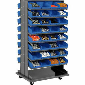 Double sided Mobile Rack 16 Shelvs With 64 8 w Blue Bins