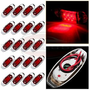 20x 4 Red Side Marker Clearance Light 6 Diodes For Truck Trailer Lorry Bus 12v