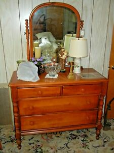 Antique Early American Maple Wood Dresser With Tilting Mirror