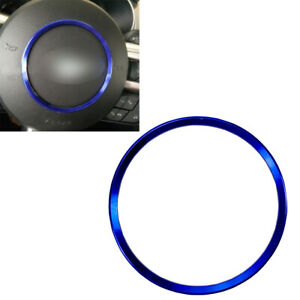 Aluminum Alloy Steering Wheel Horn Button Emblem Ring Blue For 15 20 Mustang