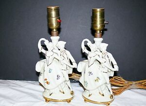 Pair Of Antique Porcelain Signed German Figural Lamps Couple Dancing Germany