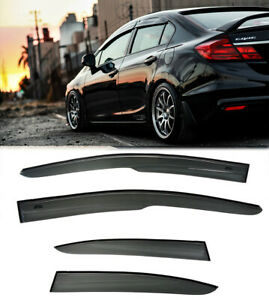 For 12 15 Honda Civic 4dr Mugen Style Rain Guard Window Visors 2 Si Sedan New