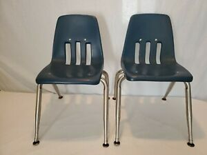 Lot Of 2 Vintage Virco Kids School Chairs 12 Seat Height Chrome navy Blue Lot 1