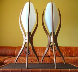 Pair Mid Century Modern Rocket Lamps Atomic Adrian Pearsall Era Danish Wood Mcm