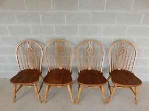 Ethan Allen Farmhouse Collection Windsor Style Hoop Back Chairs Set Of 4