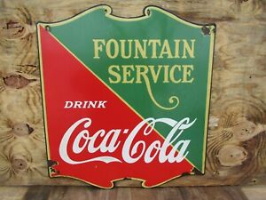 26x23 authentic org. 1932 Fountain Service Coca Cola Coke Soda Porcelain Sign