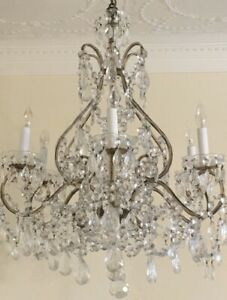 Antique Vintage Italian Crystal Macaroni Beaded Chandelier French Shabby Decor