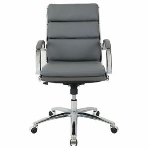 Modern Ribbed Executive Chair Leather Mid Back Charcoal Gray Fixed Arms