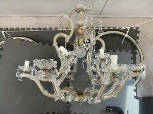 Large Vintage French Crystal Chandelier 30 X 27 Needs New Us Sockets Local Pu
