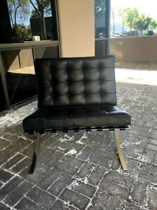 Authentic Knoll Barcelona Chair By Ludwig Mies Van Der Rohe In Black Leather