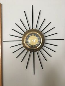 Vintage Brass Starburst Sun Burst Style Wall Clock Eight Day Wind Up