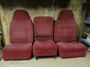 92 96 97 Ford Pickup Truck Front Bucket Jump Seats Console 40 20 40 Red