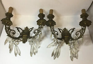 Pair Antique Electrified Brass Wall Candle Sconces Holders With Glass Crystal