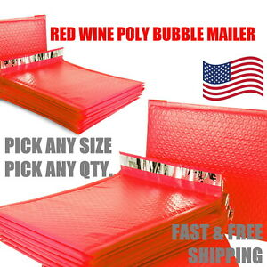 Red Poly Bubble Mailers Padded Envelope Protective Packaging Pouch Bags