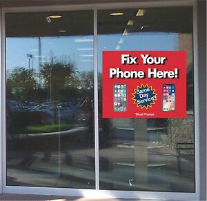 Cell Phone Repair Phones Window Sticker Business Advertising Sales Professional