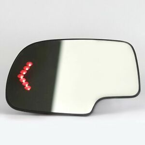 Left Heated Mirror Glass Turn Signal W O Auto Dimming Lh For Chevy Gmc Cadillac