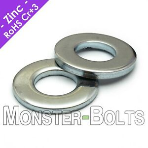Us Inch Sae Flat Washers Cr 3 Zinc Plated Steel 4 6 8 10 1 4 5 16 3 8
