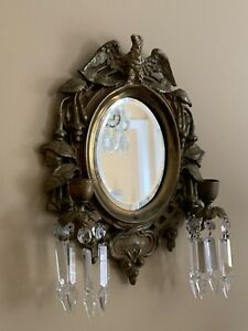 Antique Pair Bronze Federal Eagle Wall Sconce Girandole Mirror Crystal Lamp