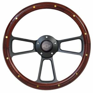 14 Mahogany Wood Steering Wheel W Black Chevy Horn For Any Chevy Car Or Truck