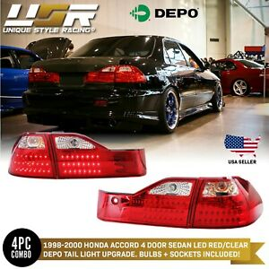 Depo Jdm Style Red Clear Led Tail Lights For 1998 2000 Honda Accord 4 Door Sedan