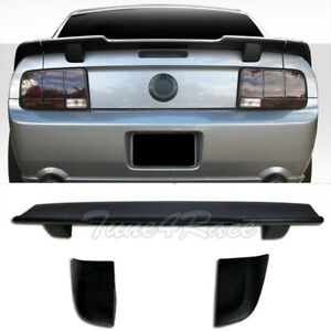 For 05 09 Ford Mustang Unpainted Black 3 Pcs Rear Wing Spoiler R Style Trunk Lip