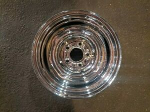 15x6 Chrome Chevy 80 S Center Outside Knob Steel Wheel 5 X 4 3 4 Single