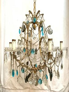 Antique Vintage Italian Blue Crystal Macaroni Beaded Chandelier Dore Bronze