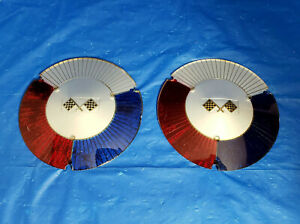 Pair 58 60 Ford Sunray Accessory Hubcap Flag Inserts Fairlane Galaxie T bird