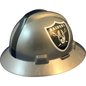 Msa V gard Full Brim Oakland Raiders Nfl Hard Hat Type 3 Ratchet Suspension