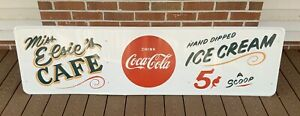 Rare, Vintage, Antique Hand Painted Cafe Coke Coca Cola Ice Cream Sign