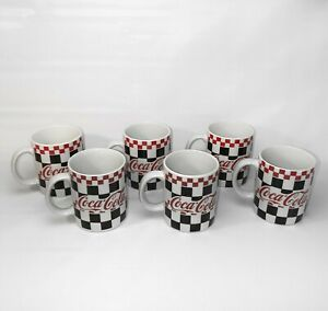 Coca Cola Red and Black Checkered Mugs 12 oz 1996 Gibson Set of 6